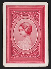 1 SINGLE VINTAGE PLAYING SWAP CARD US WIDE MONO LADY HEAD PROFILE RED