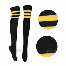 Ladies Thigh High 3 Stripe Socks UK 4-6.5 Various Colours Womens Cotton Rich