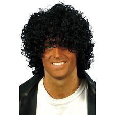 Mens Black Afro Wet Look Wig Slash Music Fancy Dress 80's 90's Curls Retro Rock