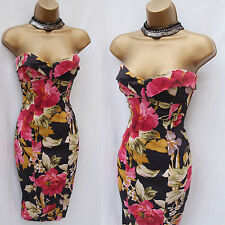 KAREN MILLEN Black Pink & Red Roses Sweetheart Satin Cocktail Wiggle Dress 12 UK