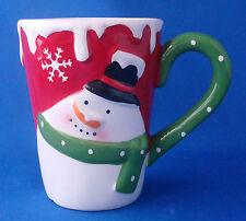 cup coffee tall mug Christmas snowman in relief Tii Collections ceramic