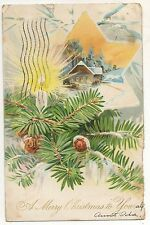 """""""A Merry Christmas To You"""" Bright Star, Tree, House, Antique Christmas Postcard"""