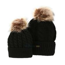 2Pcs Mother & Child Baby Warm Winter Knit Beanie Fur Pom Kid Hat Crochet Ski Cap