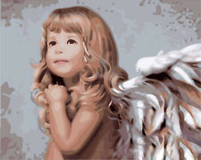 New DIY Paint By Number 16*20inches kit Beautiful Angel On Canvas SPA056