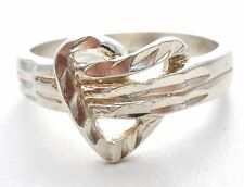 Vintage Sterling Silver Heart Ring Band Size 7 Diamond Cut Jewelry 925