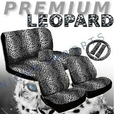 Snow Leopard 11pc Car Seat Covers Animal Gray Pair Bench Steering Wheel CS4