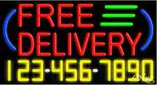 """NEW """"FREE DELIVERY"""" W/YOUR PHONE NUMBER 37x20 NEON SIGN W/CUSTOM OPTIONS 15026"""