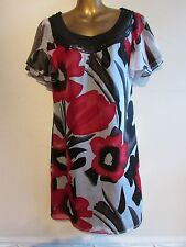 MONSOON MULTICOLOURED 100% SILK SEQUINED2NECKLINE FAN SLEEVED DRESS-UK14