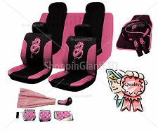 18PC PINK FULL CAR SEAT COVER SET DRAGON STYLE PINK WASHABLE MAT + TUNING KIT