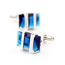 Retro Blue Stainless Steel Shirt Cuff Links Cufflinks Mens Wedding Party Gift