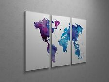 "Painted World Map Pop Art Canvas Triptych Print 48""x30"""