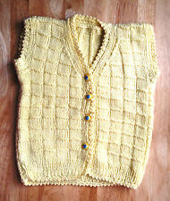 Lovely Handmade Knitted Unisex Baby's Cardigan with Evil Eye Buttons Yellow