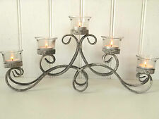 French Vintage Style Metal Tea Light Candle Holder Candelabra Table Centre Piece