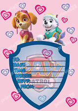 20 x Childs Party Invitations, Paw Patrol Girls design, check my store