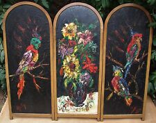 Art Deco Dressing Screen w/ 3  Paintings by Henri D'Anty Listed French Artist