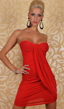 Sexy RED Cocktail Strapless Naughty Ruffle Fashion Designer Dress 8 10 12
