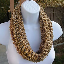 SUMMER COWL SCARF Tan Brown Gold Dark Pink, Small Short Crochet Knit Neck Warmer