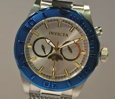 New Mens Invicta 80318 Sea Wizard Mesh Bracelet  Blue Tone Bezel Watch