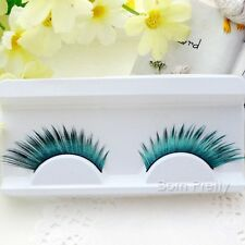 1 Pair Green Exaggerate Long Thick Artificial False Eyelash for Prom Party