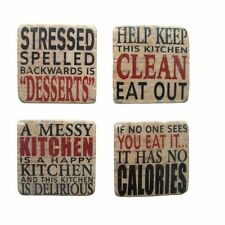 Set of Four Resin Kitchen Phrase Coasters - Placements - Happy Sayings - Square