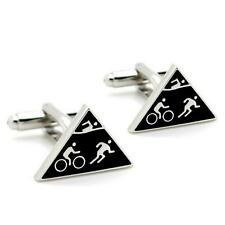 TRIATHLON CUFFLINKS Iron Man Triathlete Logo Sports Athlete NEW w GIFT BAG Pair