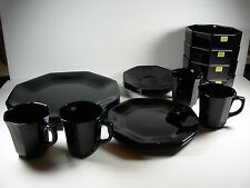 20 Piece Full Set ARCOROC OCTIME Black Glass Octagon Dinnerware Vintage France
