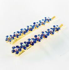 USA Bobby Pin Rhinestone Crystal Hair Clip Hairpin Jeweled Flower Gold Blue B15