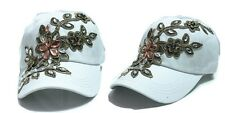Women's Applique Flower Rhinestone Studded Baseball Cap Bling Denim Tennis Hats