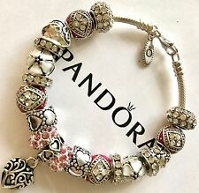 Authentic Pandora Silver Sterling Charm Bracelet With Pink Love European Charms
