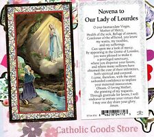 Our Lady of Lourdes with Novena to Our Lady - gold trim - Paperstock Holy Card