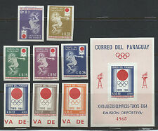 PARAGUAY , 1964 OLYMPICS , SS & SET OF 8  IMPERF , MNH , RARE