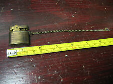 MINI  BRASS LIGHTER  S M C  w/ FOB CHAIN  VINT. ORIG. JAPAN