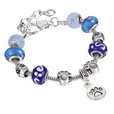 Pet Dog Paw Dangle Pendant Glass Snowflake Beads Charms Bracelet Christmas Gifts