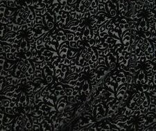 "Burnout Silk VELVET Fabric BLACK BAROQUE SCROLL 8""x22"" remnant"