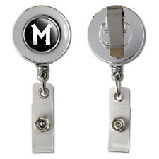 Letter M Initial Black and White Retractable Reel Chrome Badge ID Card Holder