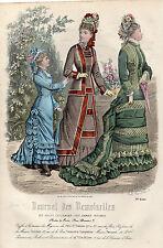 """58/ GRAVURE DE MODE """"  JOURNAL des DEMOISELLES """" 1877 SUPERBES COULEURS !"""
