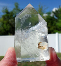 Clear Quartz Crystal Manifestation Point Madagascar with Natural Key Indentation