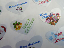 Merry, Happy Christmas Heart Greeting Stickers, Labels for Cards, HCHS-3524/1