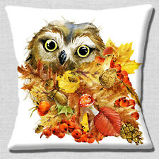 "NEW CUTE OWL CARTOON SITTING IN AUTUMN LEAVES on White 16"" Pillow Cushion Cover"
