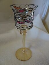 CRYSTAL VOTIVE CANDLE HOLDER-LONG STEM WITH STAINED GLASS EFFECT BOWL-AMBER BASE