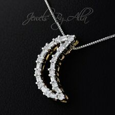 14K (Solid, Unplated) Two-Tone Gold Crescent Moon Diamond Pendant