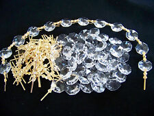 100PCS 14MM DIY Clear Octagon Crystal Glass Beads Chandelier Chain Part + Pins