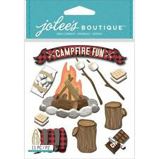 Jolee's CAMPFIRE Stickers OUTDOORS CAMP WOOD CHOCOLATE MARSHMALLOWS SMORES