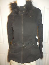 TRIPP BLACK FUR BELTED MOTO JACKET  NEW  GOTHIC ROCK HOT TOPIC SIZE JR.  X LARGE