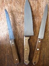 3 Vintage Knives Chef's Carving - Stainless Steel & Carbon Steel Wood Handles
