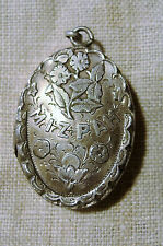 Antique Mizpah Flower Locket sterling silver pendant vintage Victorian Edwardian