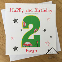 Personalised boys cars card, 1st 2nd 3rd birthday. Any Age/Name. Son/Grandson