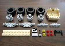 NEW LEGO JEEP/TRUCK LOT W/ TAN CHASSIS: WHEELS, 4x4 LARGE TIRES, AXLES +MORE