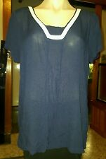 WOMENS Sz 12 blue & white MILLERS slightly see-through tunic LOVELY LACE TRIM!