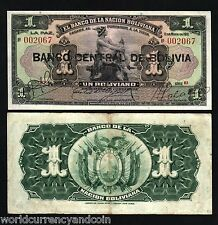BOLIVIA 1 BOLIVIANO P112 1929 BIRD HORSE *BLACK* OVER PRINT WORLD CURRENCY NOTE